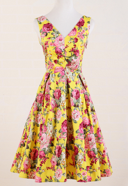 yellow roses floral women's clothes swing dance flare dress knee-length bridesmaid party wedding club wear vestidos vintage robe(China (Mainland))