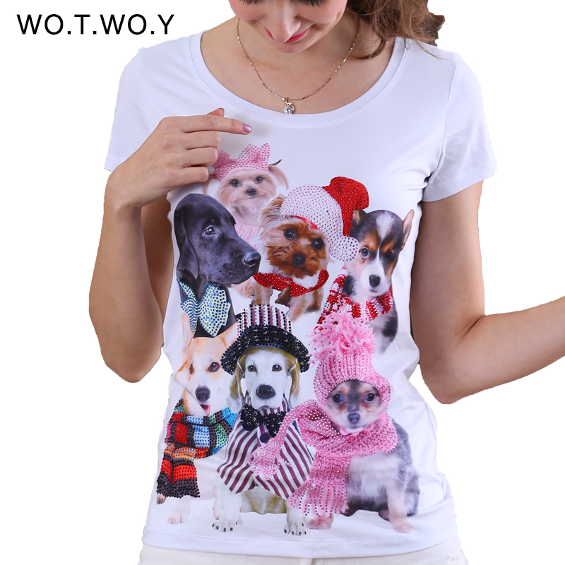 2016 Top Quality Lovely Dogs 3D Printed T-shirt Women Animal Graphic Pink French Bulldogs T shirt For Women Dog Diamonds 8206(China (Mainland))