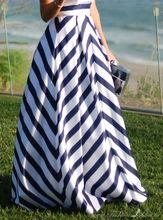 Womens Elegant Fashion Stripe High Waist Ball Gown Summer Casual Party Long Skirt Cute Maxi Skirt saias(China (Mainland))
