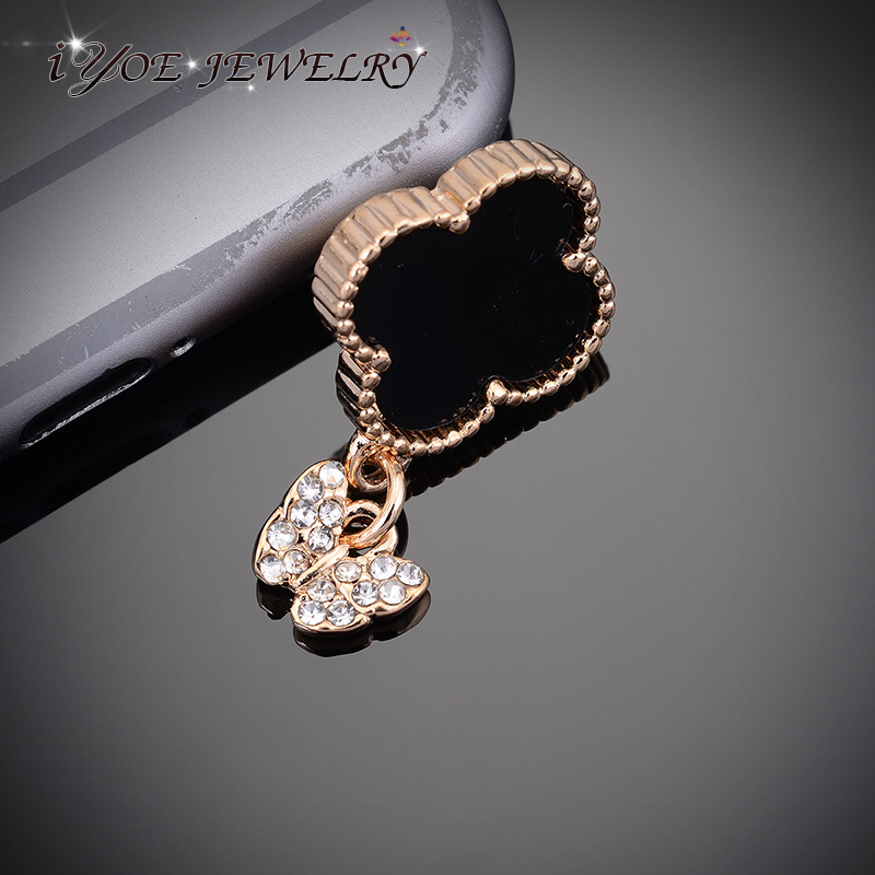 Promotion Price 3.5mm Clover Dust Plug Fashion Crystal Butterfly Dust Plug Cell Phone For Sumsung Accessories