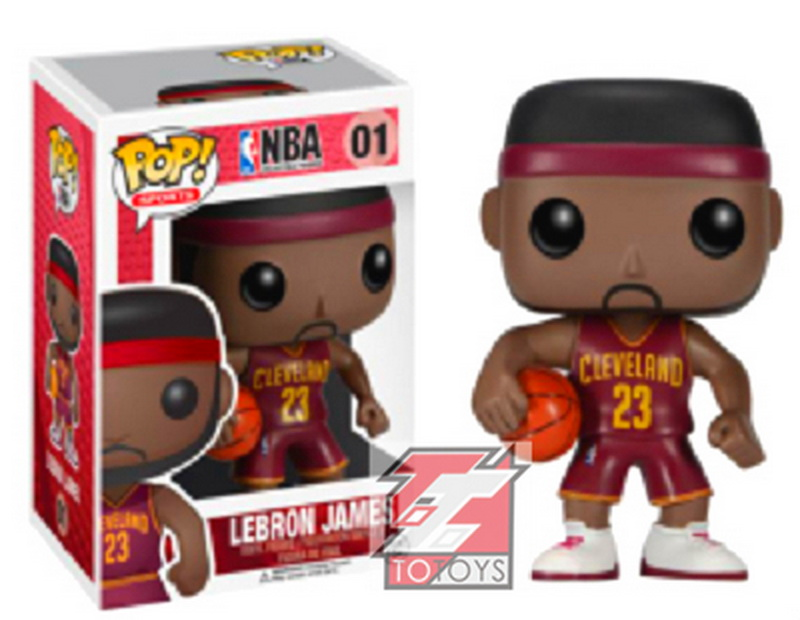 Genuine Brand Funko POP Vinyl Figure Basketball Cleveland Cavaliers LeBron James Red jersey Number 01 Dolls Action Figure(China (Mainland))