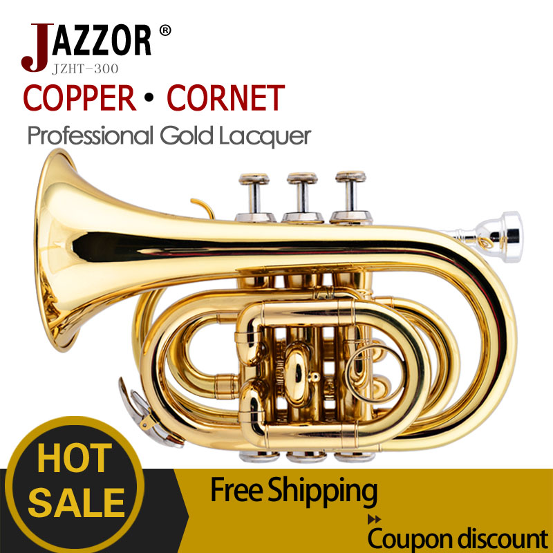 Free shipping JAZZOR professional Cornet JZHT-300 B flat Gold lacquer Bb trumpet corneta with Hard case Brass musical instrument(China (Mainland))