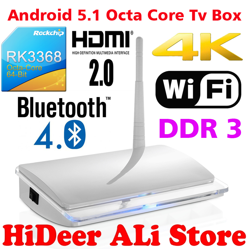2016 RK3368 octa core tv box EA05 support 4K bluetooth 4.0 Android 5.1 Kodi 15.2 full add-ons - HiDeer Tech Co., Ltd Store store