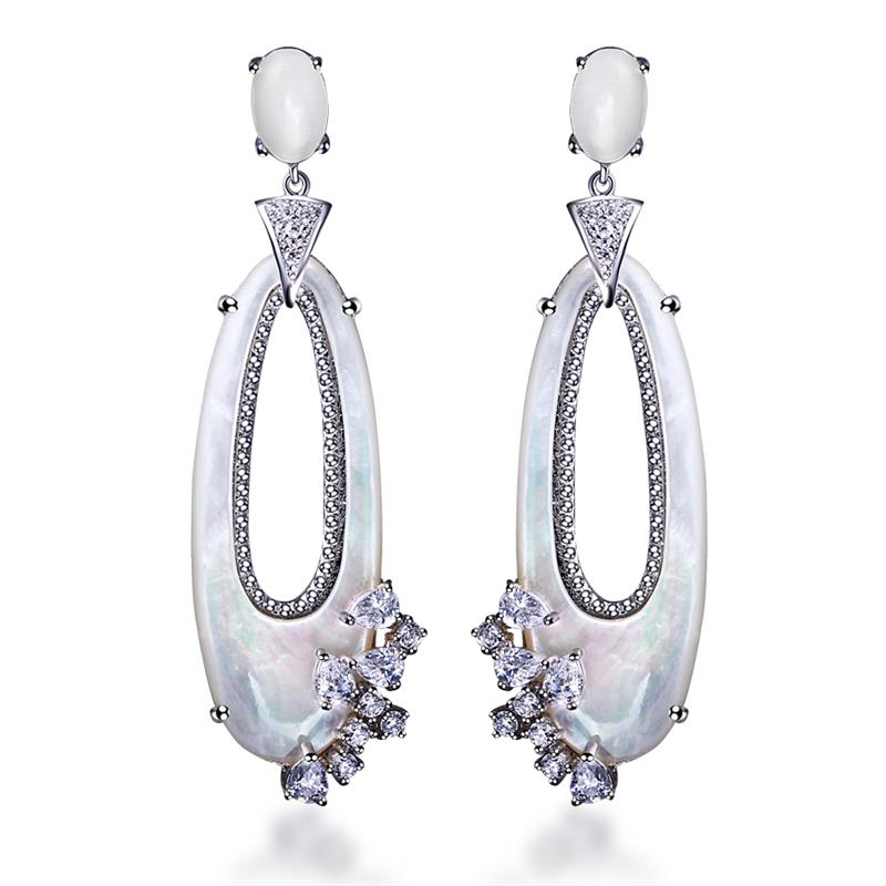 Love Deluxe Earrings -Fashion Earrings Women Elegant Long Earring 18K Gold Platinum Gun Plated Zircon White Shell Free Shipping(China (Mainland))