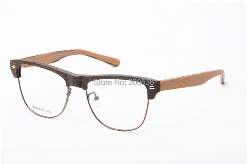 Glasses Frames For Men : Vintage Imitation Wood Optical Frames Half Rim Eye Glasses ...