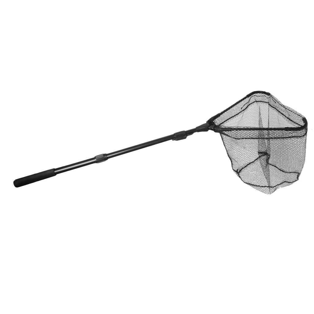 Foldable Landing Net Triangle Brail Fly Fishing Fish Net Keeper Black with 59inch Extending Telescoping Pole Casting Trap