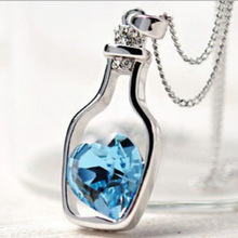 2015 new popular Austria Crystal Necklace heart wishing bottles – love fashion jewelry gift bottle ladies free shipping