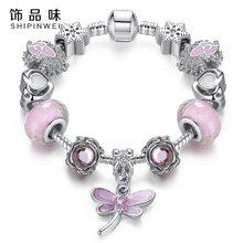 Fashion Bracelet&Bangle Lovely Pink Murano Glass Beads Dragonfly Charm Silver Bracelet For Mon&Child Fashion Jewelry Gift(China (Mainland))