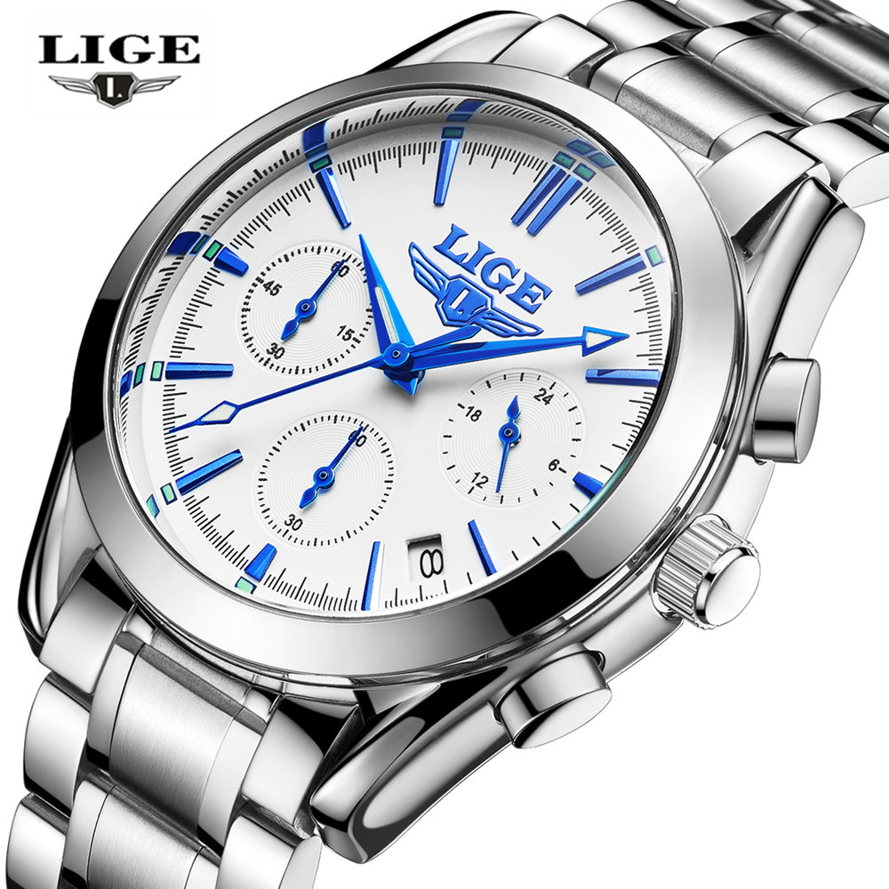 Relogio masculino LIGE Fashion Casual Business Men's Quartz Watch All Stainless Steel Criminal Watches Men's Waterproof Clock(China (Mainland))