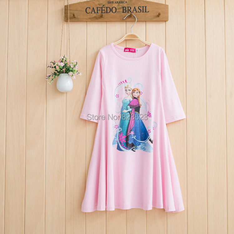 Retail Abby Fish 2015 New Summer&Autumn Children's Clothing, baby girl long beach dress for 2-10Y girls, casual cotton pink(China (Mainland))