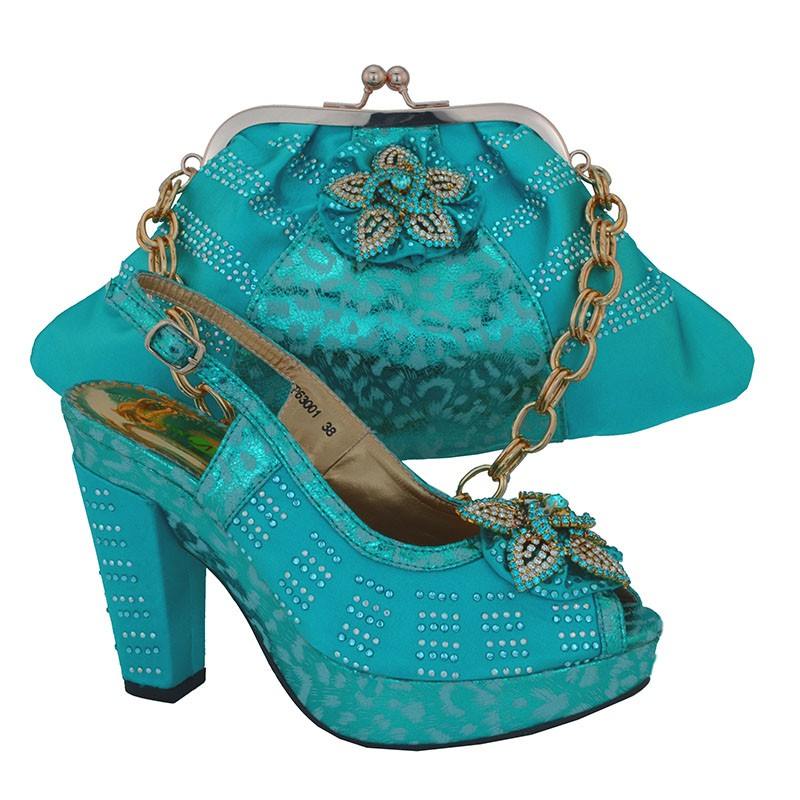 Фотография Italy Design Summer Style Shoe And Matching Bag Set For Party African Women Shoes And Bag Set Sky Blue Free Shipping CP63001