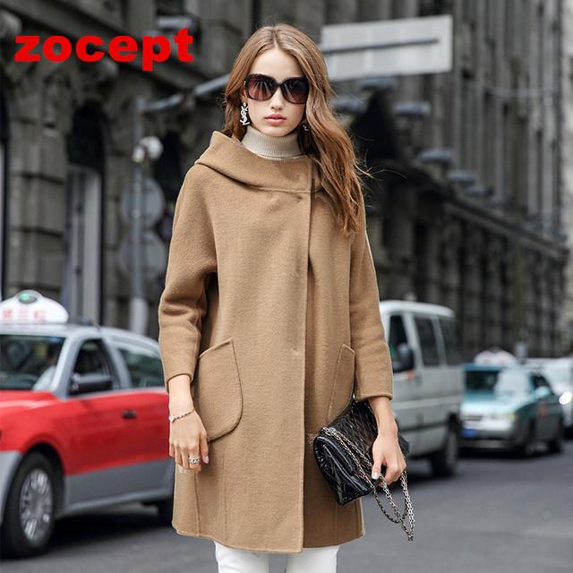 Zocept 2016 новый зимний кашемир шерсть пальто женщины длинные свободного покроя куртка с капюшоном женский теплая одежда из высокое качество верхняя одежда