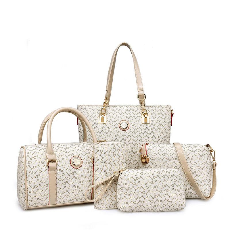 New Herringbone Printing Handbag Five sets Vintage Bag Ladies Famous Designer Brand Bags Women Leathe handbag Composite Tote Bag(China (Mainland))