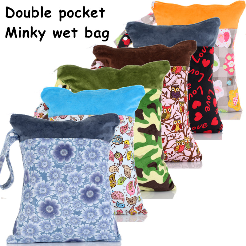 1PC Reusable Waterproof Minky Diaper Nappy Dry Wet Bag,Double Zipper Pocket,38*26CM,Wholesale Selling(China (Mainland))