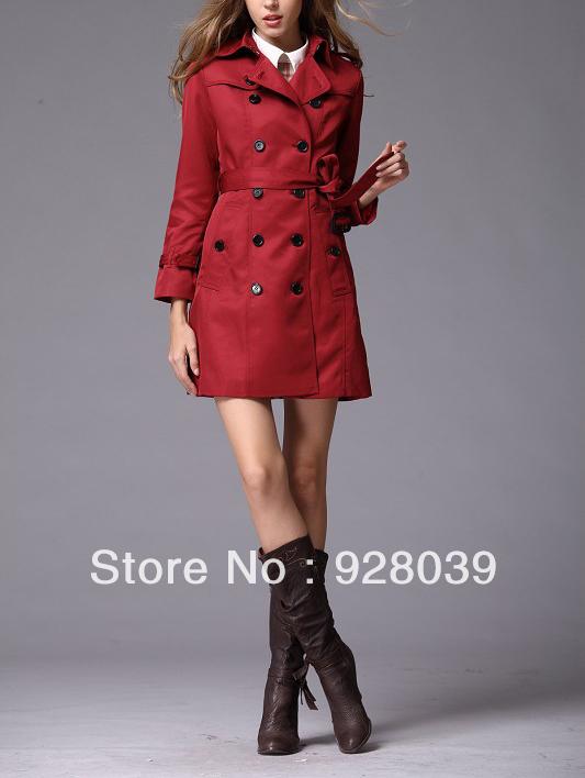 2013 New Winter Coat Jacket British Noble Elegance Double-breasted Long Dustcoat Wind Coat  Free Shipping S-2XL(China (Mainland))