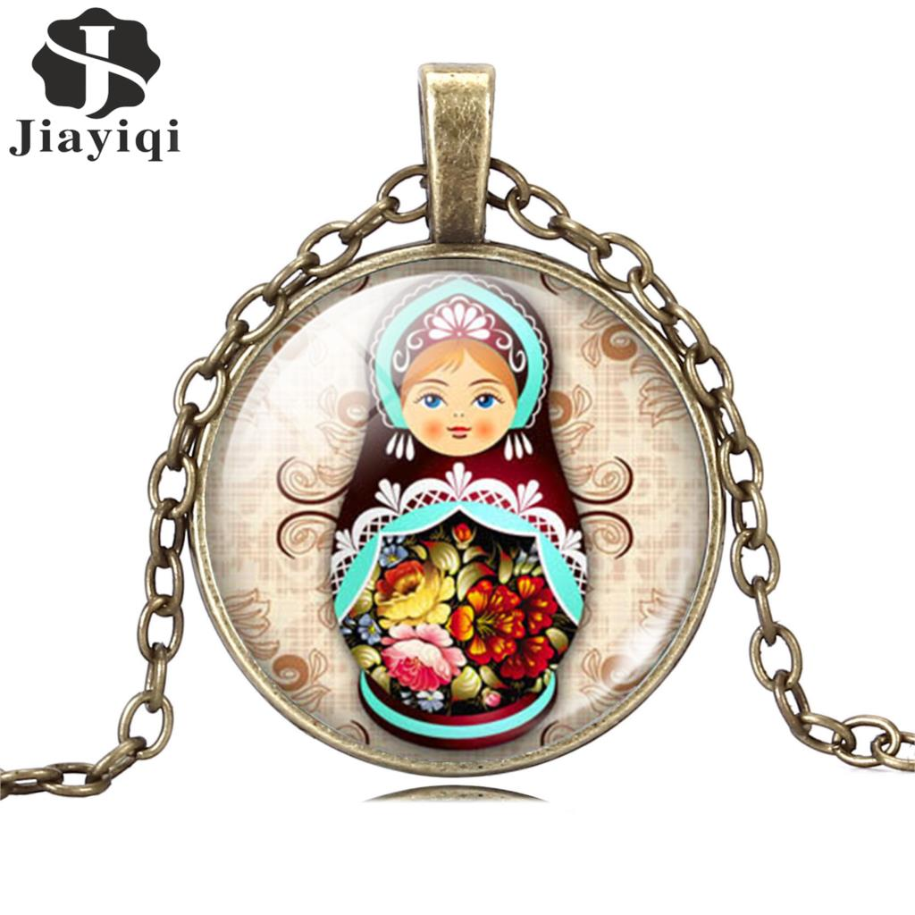 Vintage Antique Jewelry Glass Cabochon Silver Long Chain Necklace Tradition Russian Doll Picture Pendant Necklace Women