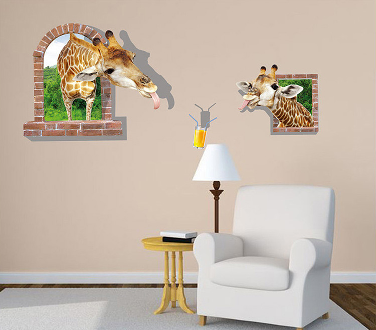 New 3d giraffe window large wall stickers home decor for Big wall decor