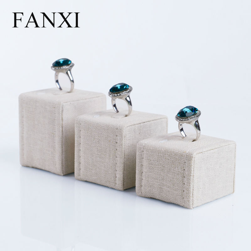 FANXI Free shipping custom wholesale 6 set/lot MDF wrapped with beige linen jewelry exhibitor props for ring shop display(China (Mainland))