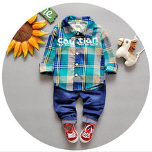 2016 Newborn Baby Boy Clothing Set Infant Fashion Clothes Formal Baby Suits Plaid Tracksuit Brand Baby Boy Clothes Spring Coats