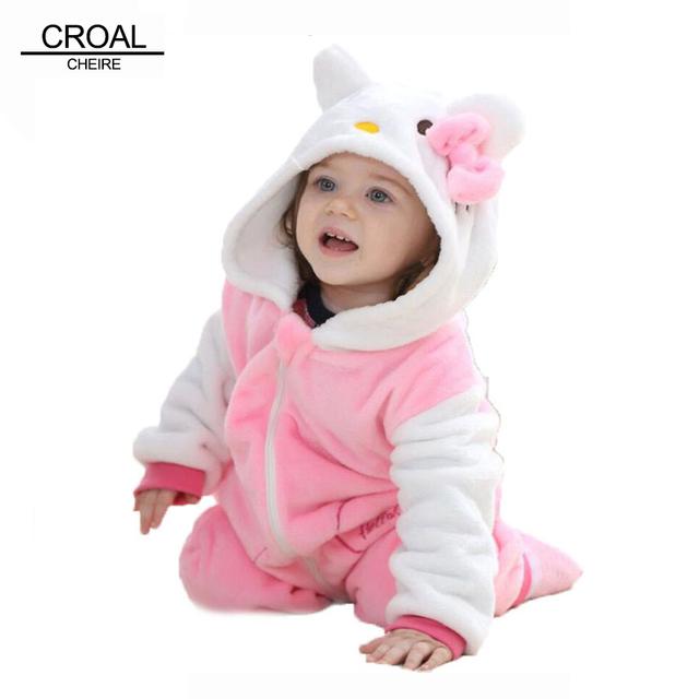 Kawaii Hello Kitty Panda Девочки Одежда Для Животных Baby Rompers Костюм Зимний Флис Одежда Для Мальчиков Теплый Snowsuit Комбинезон