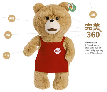 Easter Gifts for adults Man's Ted Bear original Hot movie teddy bears dolls with red apron Stuffed bears toys; Free shipping