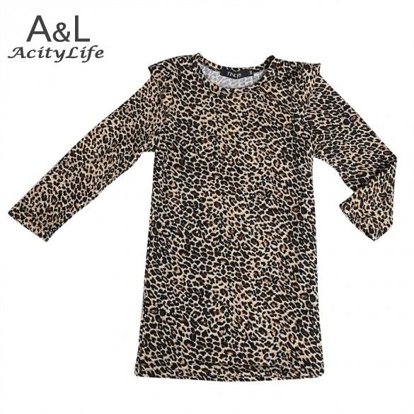 2014 New baby Chirld Girl fashion leopard Printed dress Kids long sleeve Mini dress spring autumn clothing 5 Sizes 29(China (Mainland))