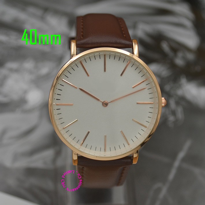 quartz fashion watch men wristwatch women 36mm 40mm real leather nylon strap luxury brand rose gold good Quality real calendar(China (Mainland))