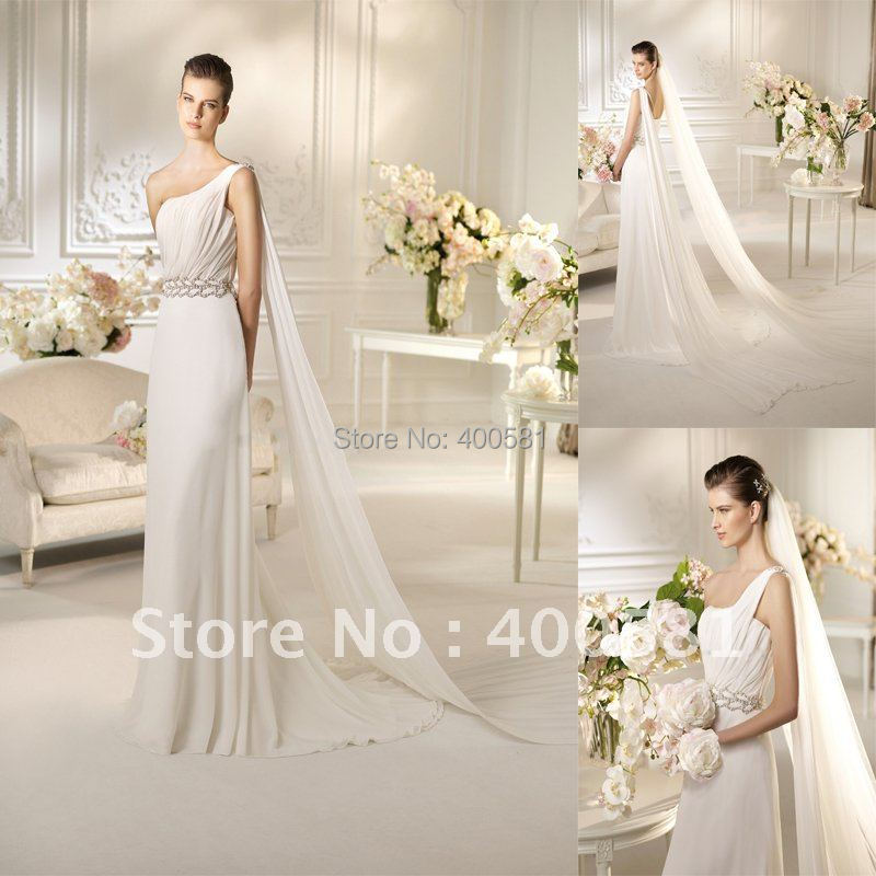 Beautiful one shoulder draping a line sweep train silver for Silver beaded wedding dress
