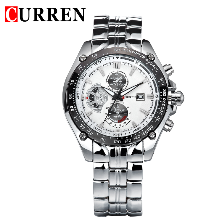 CURREN new fashion casual quartz watch men large dial waterproof chronograph releather wrist watch relojes free