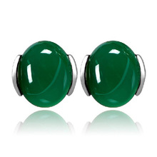 88a137 crystal green agate stud earring vintage earring(China (Mainland))