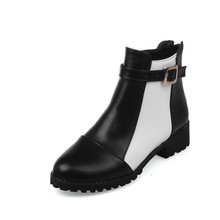 New Hot Sale 2016 Autumn Winter Chelsea Boots Woman Round Toe Color Mixed Low Heel Ankle Boots Female Shoes 35-43 Plus Size 68-2(China (Mainland))