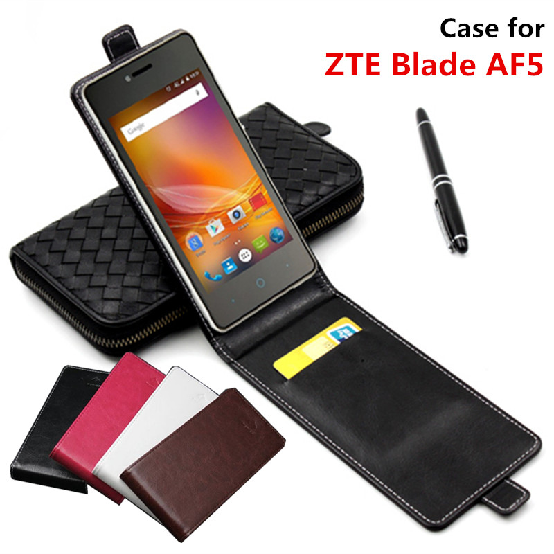 Classic Advanced Top Leather Flip Leather case For ZTE Blade AF5 / For ZTE Blade AF 5 square Phone Cover Case With Card Slot(China (Mainland))