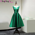 Green Satin Tea Length Cocktail Dresses Bow Sashes Open Back Short Prom Gowns 2016 Custom DHL