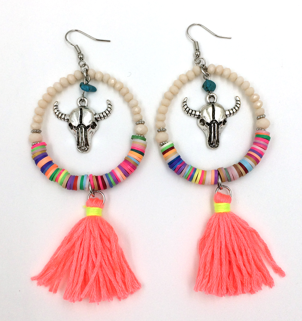 2016 new crystal beads dangle earrings with cotton tassel ...