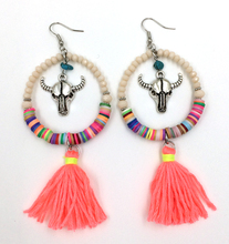 2016 new crystal beads dangle earrings with cotton tassel summer style Bull skull tauren taurus charms earrings antique silver(China (Mainland))
