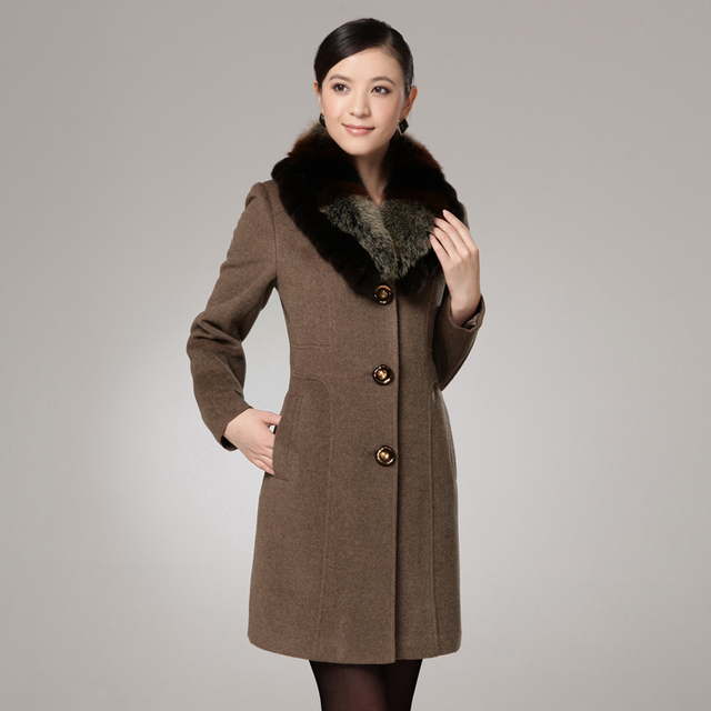Free shipping 2013 new arrival high quality fox fur slim cashmere overcoat female winter women's wool outerwear plus size