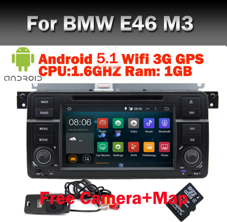 Quad Core Car DVD Player for BMW E46 Android 5.1 DVD GPS Navi Bluetooth Radio RDS USB Steering wheel Control Canbus Free 8G Map(China (Mainland))