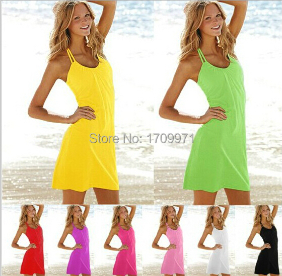 2015 New seaside beach dress sexy dress Outside bikini dress female 8 color smock holiday,Free shipping NZ0028(China (Mainland))