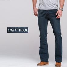 Mens jeans boot cut leg slightly flared slim fit famous brand blue black male jeans designer classic denim Jeans(China)