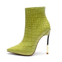Mstacchi Herfst Winter Schoenen Voor Dames Groene Steen Patroon Sexy Hoge Hakken Stiletto Enkellaarsjes Fashion Snake Skin Schoenen Vrouwen(China)