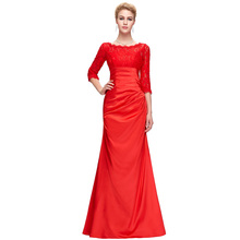 Black Red Satin Mermaid Evening Dress for Wedding Mother of the Bride Dresses Long Sleeve Lace Evening Gowns Women 4524(China (Mainland))