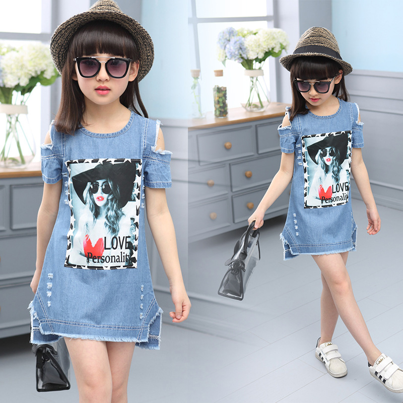 20# 2016 Summer Denim Dress Kids Girls Dresses Print Pattern Casual Sundress - Nights Mistress store