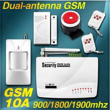 New 2 Two antenna Wireless/Wired Home Intelligent Burglar GSM Voice Alarm System 900/1800/1900Mhz Auto dial remote arm/disarm(China (Mainland))