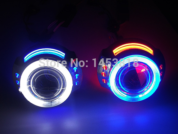 High Quality!! 3.0HQI 3'' inch Projector Lens Light Double CCFL HID Bi xenon Double Angel Eyes Headlight High Low Beam H1 H4 H7