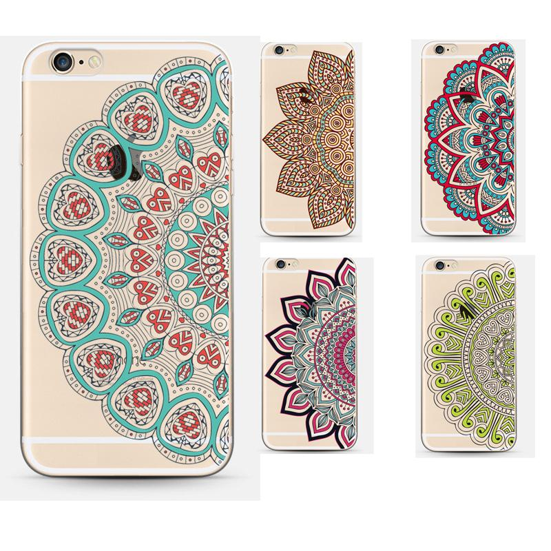Coque Vintage Transparent Flower Mandala Phone Case Cover For Apple Iphone 6 Case 6s Luxury Soft Silicon Capa(China (Mainland))