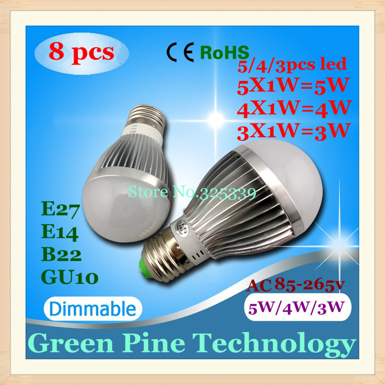 Dimmable Bubble Ball Bulb AC85-265V 5W 4W 3W E14 E27 B22 GU10 High power LED Globe light Lamp - Stareyes Green Pine Store store