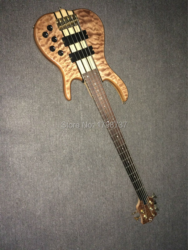Luxury 5 strings bass smith electric bass guitar EMS free shipping wilkson tail gold hardware(China (Mainland))