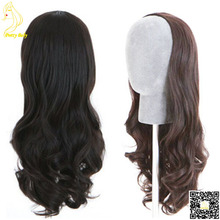 Fashion Wavy Human Hair Wigs Unprocessed Virgin Brazilian 3/4 Half Wigs Human Hair Body Wave None Lace Wigs for Black Women(China (Mainland))