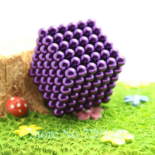 Free shipping 5mm Buckyballs Magnetic balls Neocube Magic cube Magnet Puzzle (Purple color, Round tin box)(China (Mainland))