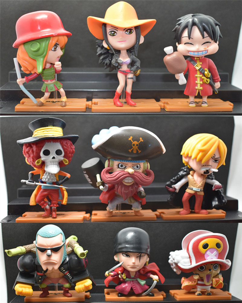 NEW 9PCS/LOT 10CM pvc anime figure Q version one piece red cloth ver action figure collectible model toys brinquedos(China (Mainland))